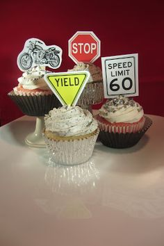 "The Mandatory Mooch: ""Enjoying the Ride"" 60th Birthday Party with cupcake recipes and free cupcake topper printables. Speed limit, stop, sign, yield, motorcycle"