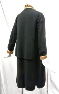1920's Black Wool Flapper Coat Huge Draped Collar,Mink Trim,Scalloped Cape. Back