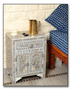 Grey Mother of Pearl #Inlay #Bedside #Chesthttp://www.irisfurnishing.com/Mother-of-Pearl-Inlay-Furniture-s/1514.htm