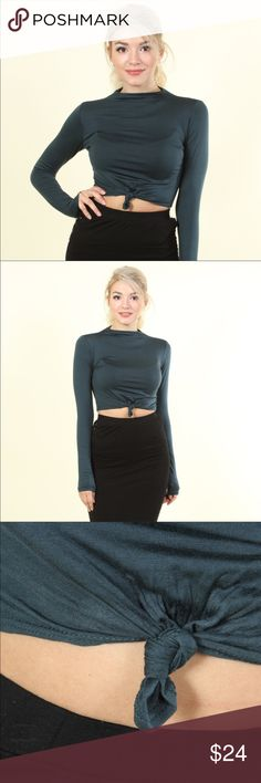 Noelle Knotted Crop Top Super soft, solid dark teal, rayon jersey, long-sleeve crop top w/ tie knot center and high-neck. Pair with high waisted bottoms for a sultry look! Tops Tees - Long Sleeve
