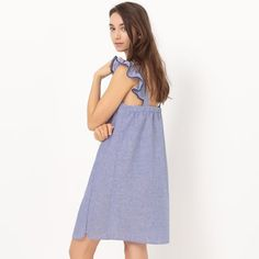 Robe chambray, manches courtes volantées R Edition