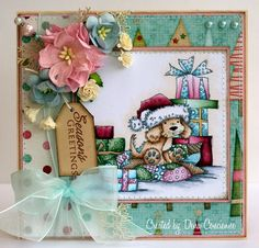 """I have another card to show you today using a stamp from the newest Christmas release from LOTV called """"Christmas Puppy"""". Christmas Puppy, Christmas Animals, Pink Christmas, Christmas Themes, Handmade Christmas, Christmas Crafts, Xmas Cards, Holiday Cards, Whimsy Stamps"""