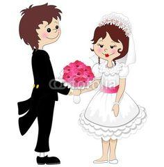 Weddings Married Couple Cartoon-Vector © bluedarkat