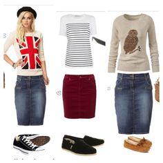 Casual modest outfits. Cuteness! Love the sweaters ^_^