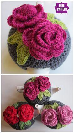 DIY Crochet Tea Cozy Free Crochet Patterns - Leah's Rose Tea Cosies Free Crochet Pattern Crochet Tea Cosy Free Pattern, Tea Cosy Pattern, Crochet Mug Cozy, Knitted Tea Cosies, Crochet Geek, Diy Crochet, Crochet Patterns, Knitting Patterns, Small Crochet Gifts