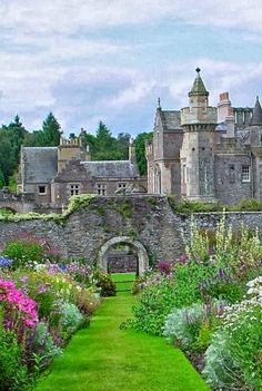 "Abbotsford House, Scotland--a side few of the baronial manor house of Sir Walter Scott, the author credited with ""inventing"" the historical novel and the home the heroine visits to garner inspiration for her home furnishings project for her boss in America..."