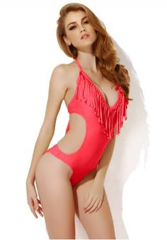 Sexy red one piece swimwear with fringe and side cut outs in low price