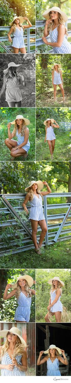 d-Squared Designs Edwardsville, IL Senior Photography. St. Louis, MO Senior Photographer. Beautiful girl. Summer session with hat. Romper and hat style.