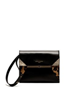 SHOULDER BAG IN MATTE LEATHER WITH DETAILS IN LAMINATE AND SPOTTY PONYSKIN - Shoes Woman - Alberto Guardiani