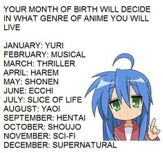 Well, isn't that just peachy! I really don't like ecchi, but every anime birthday dealio I do ends up being ecchi something; the name of my anime would be The Ecchi Alien. Anime Horoscope, Anime Zodiac, Birthday Scenario Game, Birthday Games, Black Butler, Geeks, All Anime, Anime Stuff, Fantasy Art