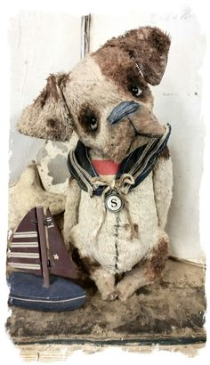 """One of a Kind Approx. 8"""" - Antique Style hand tinted Sailor Dawg in handmade sailor collar from vintage textiles, trims & comes with his..."""
