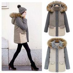 New Winter Women Fashion Down Jackets Single-breasted Faux Fur Long Sleeved Coat Jacket