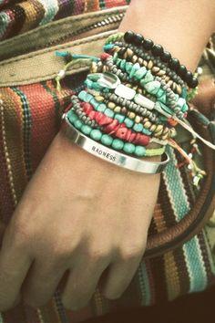 Staked Bracelets http://modernprairiegirl.com/wp-content/uploads/2011/12/turquoise2.jpg