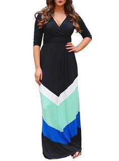 Plus Size Casual Maxi Dress - Chevron Style