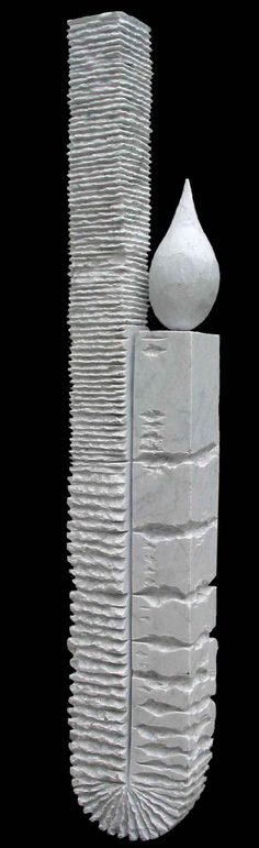 Carved White Marble #sculpture by #sculptor Sava C Marian titled: 'Equilibre (Carved White marble abstract Yard statue)'. #SavaCMarian