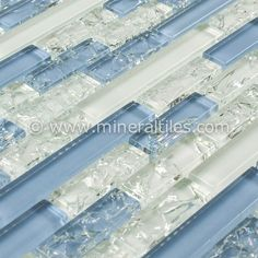 Linear Glass Slate Mosaic Tile Blue is a combination of glass and blue slate stone mounted on a 12x12 interlocking sheet, which allows for an easy installation. The individual tile size varies from 1/