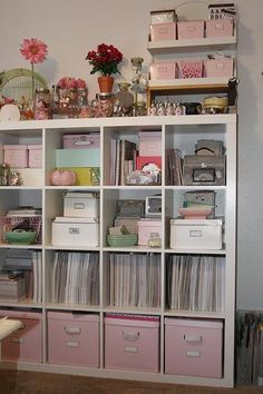 Craft room idea using Expedit Shelving Unit (4x4) from #IKEA, storage bins in your color choice ) #officespace #craftroom #idea #storage #organization #pink