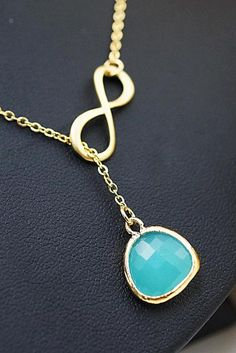Infinity charm with mint opal glass drop necklace from EarringsNation