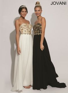 White & black Jovani prom dresses with gold detailing