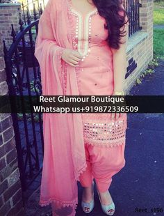 Elegant Baby Pink Machine Embroidered Punjabi Suit Product Code: s196  We Can also Design any Suit of your Own Design and any Color Combination Exclusive designs available,only at Reet Glamour Boutique,Jalandhar Contact or whats aap us 9872336509 reetglamour@gmail.com