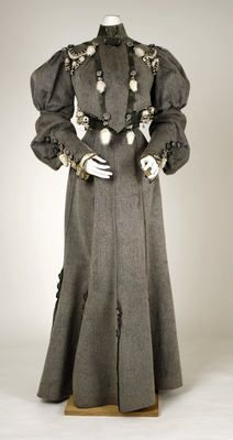 Dress  Date 1902–4 - someone with far more time and talent could make a wonderful steampunk-esque outfit based on this dress design.  Tone down the sleeves, change the black/silver halter thing for a sort of leather utility halter, open the back up for a peek of skin.  It would be fabulous.