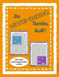 This is a fun activity to have your students practice 2-digit, 3-digit, 4-digit, and 5-digit numbers in French, Spanish, or any language! There is no French written on this sheet so you can use it for any language. Print out the number sheets and the squares.
