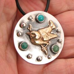 """Brass Bird Pendant """"Color Song"""" - Sterling, Turquoise, Russian Amazonite and Green Aventurine - OOAK by marybird on Etsy"""
