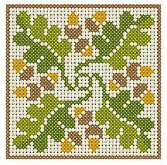 Autumn acorn biscornu pattern: http://1.bp.blogspot.com/_P1IhCbVINpg/SLvhzNW3wNI/AAAAAAAAEbA/fpoX6VFNJ6c/s1600-h/acorn_freebie.jpg