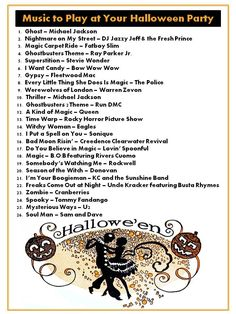 Halloween Music Ideas.  Some are ok. Some, not so much. And they are missing some in my opinion. But a place to start.