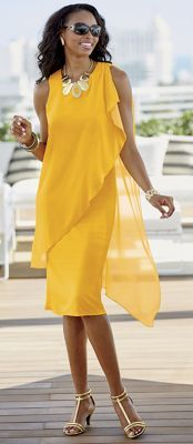 Gigi Dress - Asymmetric mesh overlay for an urban vibe. Cute Formal Dresses, Elegant Dresses, Beautiful Dresses, Formal Gowns, Gigi Dress, Mom Dress, Yellow Dress, Dress Patterns, Stylish Outfits