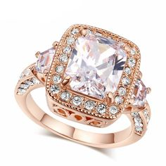 Big Gem Ring - 18K Rose Gold Plated