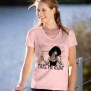 "Tricouri de vacanta, din bumbac cu inscriptia ""Take me away"".  #cocktail #departe #fata #femeie #libertate #muzica #palarie #soare #tricou #vara #tricouri #tricouripersonalizate Take Me Away, V Neck, T Shirts For Women, Tops, Fashion, Atelier, Moda, Fashion Styles, Shell Tops"