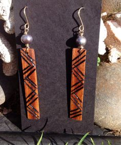Koa Kapala Tribal Carved Earrings w/Freshwater by AumoanaDesigns, $25.00