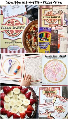 Pizza Party Activities - Babysitter Activity Kit - great for babysitting activities or family fun! Includes printable crafts, recipes, a game for kids and more!
