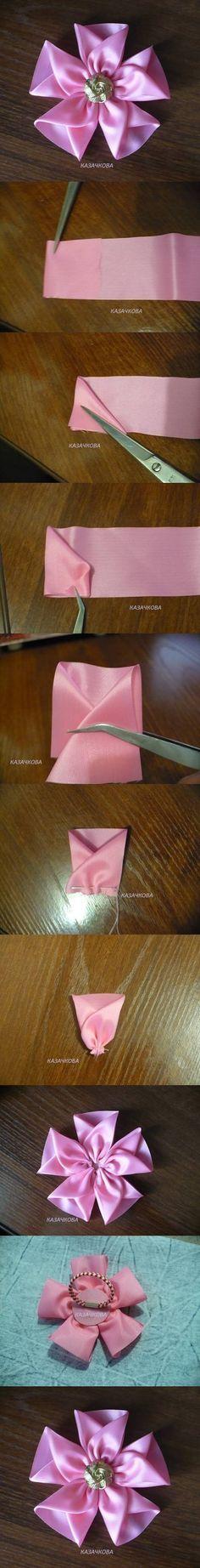 Fácil de bricolaje cinta de seda 2 de la flor
