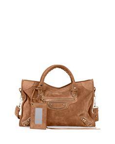 29e0032a3b V305H Balenciaga Metallic Edge Suede City Bag, Tan Balenciaga Suede,  Balenciaga Handbags, Balenciaga