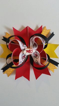 Check out this item in my Etsy shop https://www.etsy.com/listing/286997799/kansas-city-chiefs-stacked-grosgrain