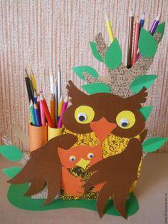 """Делаем карандашницу """"Сова с совёнком"""" - Ярмарка Мастеров - ручная работа, handmade"""
