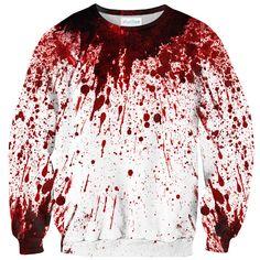 Blood Splatter Sweater by Shelfies Sweater Shirt, Long Sleeve Sweater, Long Sleeve Tops, Long Sleeve Shirts, White Shirts, White Sweaters, Cooler Look, Mein Style, White Tops