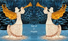 KNLSTORE 5ft Lighted Shimmering Glitter Tinsel Nativity Angel with Trumpet Horn Animated Moving Golden Wings Christmas Yard Decor White Lights Gold Scroll Seasonal Festive Outdoor Lawn Decoration Display KNL Store http://www.amazon.com/dp/B00GQIGKCM/ref=cm_sw_r_pi_dp_xV.qwb01BVPWW
