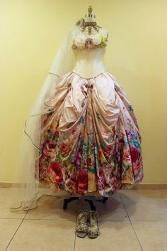 Fantastic Victorian Style Wedding Dress Amazingly Created by Michal Negrin with Fabric Flowers on Bustline, Flower Print, Horizontal Pleats with Bow Embellishments, V-Waist, Garnished with Swarovski Crystals and Glitter Elements: Clothing Michal Negrin, Victorian Fashion, Vintage Fashion, Victorian Era, Timeless Fashion, Vintage Dresses, Vintage Outfits, Vintage Clothing, Edwardian Clothing