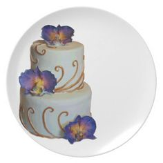Wedding cake - gold laces and purple orchids party plates