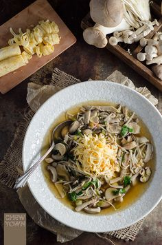 Oriental Mushroom Soup with Egg 'Noodles' | Chew Town Food Blog
