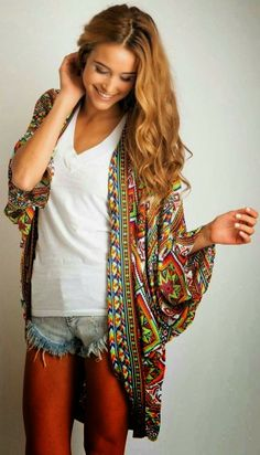 Printed Cardigan, White Shirt With Jeans Shorts