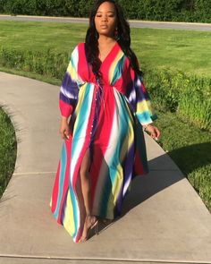 The Color Burst Maxi you can wear as s coverup model wears a medium African Inspired Fashion, Latest African Fashion Dresses, African Print Dresses, African Dresses For Women, African Print Fashion, African Attire, African Women, African Wedding Attire, Women's Fashion Dresses