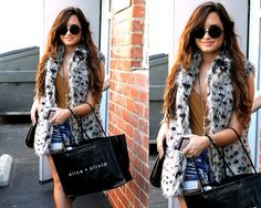 demi lovato wearing sunglasses | Demi Lovato in Alice + Olivia Shaelyn Long Faux-Fur Vest