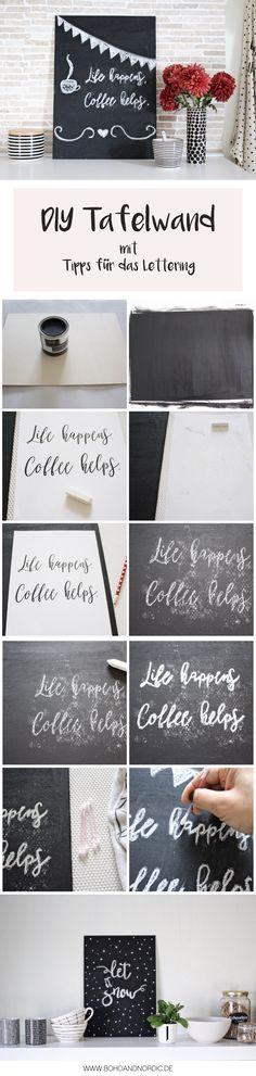 DIY Tafelwand + Tipps für das Lettering #diy #basteln #tafelwand #chalkboard #selbermachen #freebie #printable #deko #wanddeko