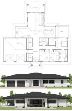 Home plan, house plans, floor plans Sims House Plans, House Layout Plans, New House Plans, Dream House Plans, Modern House Plans, Small House Plans, House Layouts, House Floor Plans, Architectural Design House Plans