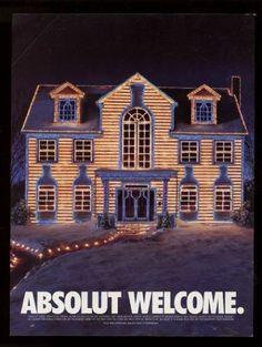 1997 Absolut Welcome Vodka Bottle Shaped Christmas Lights House Vintage Print Ad   eBay