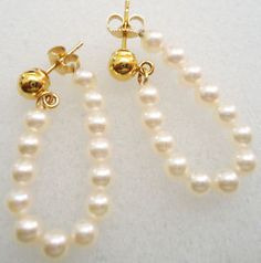 14K Yellow Gold and Pearl Earrings